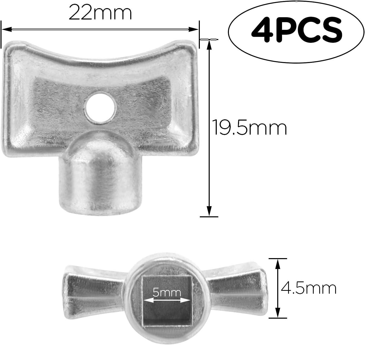 LUTER 4Pcs Radiator Valve Keys Silver Radiator Bleed Hole Key Radiator Vent Air Valve Key Plumbing Valve Key for Radiators and Faucet