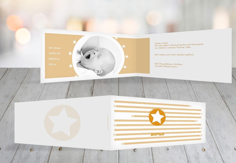 Kartenparadies Danksagung für für für Geburt Baby Dankeskarte a new star, hochwertige Danksagungskarte Baby inklusive Umschläge   100 Karten - (Format  215x105 mm) Farbe  Hellbraun B01N4TY73M | Mittel Preis  | Gute Qualität  | Exquisite Handwerkskunst 70b8a8