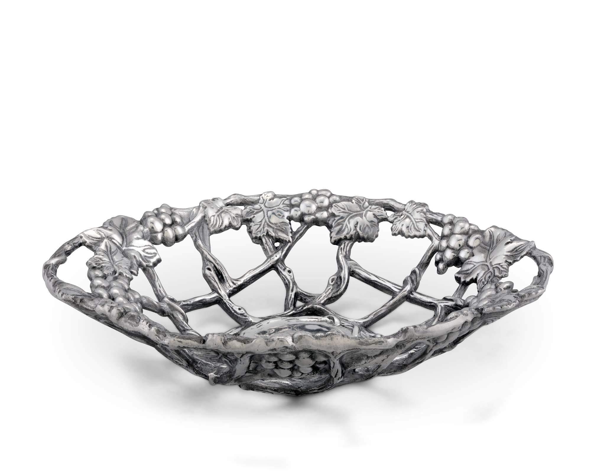 Arthur Court Grape Pattern Fruit/Centerpiece Metal Basket - Cast Aluminum