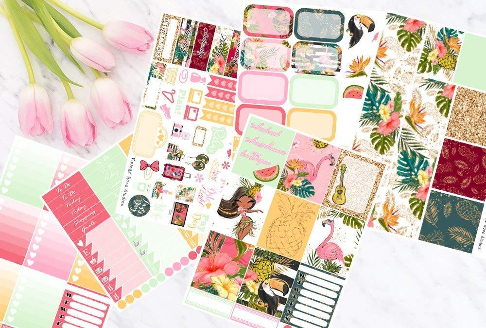 Flamingo  Summer  Planner Stickers  MINI-KIT  Vertical ECLP Weekly Planner