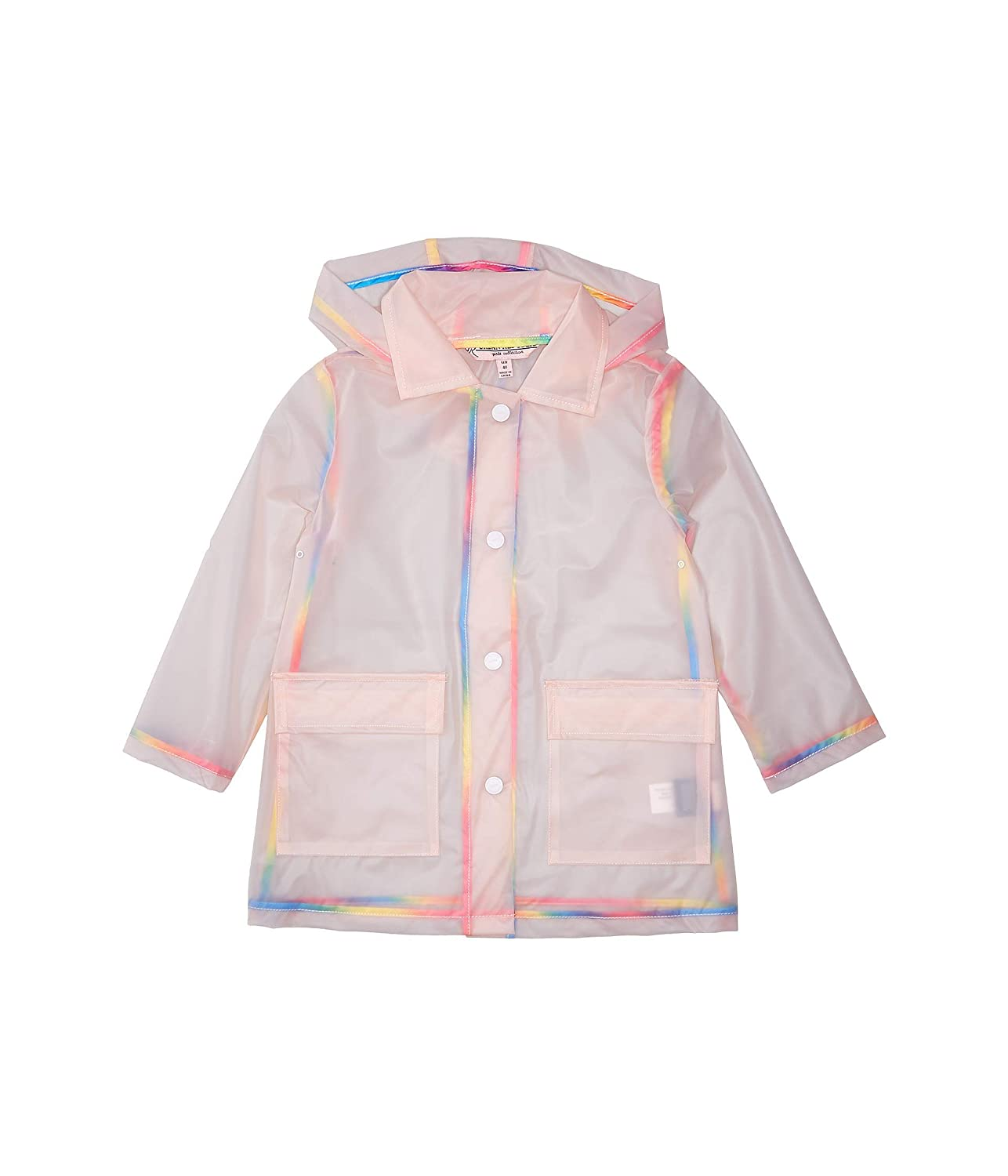 Infant//Toddler Urban Republic Kids Baby Girls Transparent Raincoat with Rainbow Piping