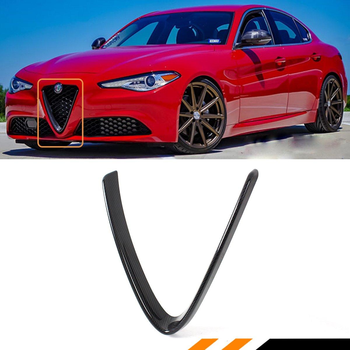 For 2017 2018 Alfa Romeo Giulia Base Ti Carbon Fiber Pinterest Front V Shape Grille Cover Outline Trim Automotive