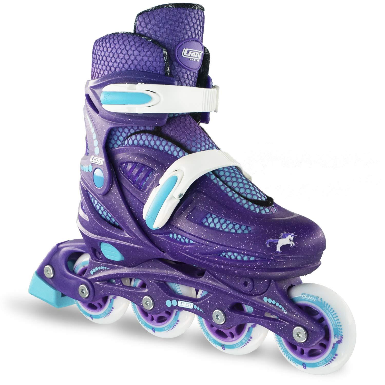 Crazy Skates Adjustable Inline Skates for Girls  Beginner Kids Rollerblades   Purple with Teal   Large (Sizes 5-8)