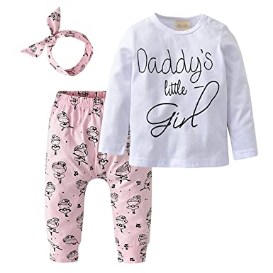 54785c97 Zukuco Baby Girls Clothes Daddy's Little Girl Top Letter Hoodie + Cartoon  Pants + Headband Outfit