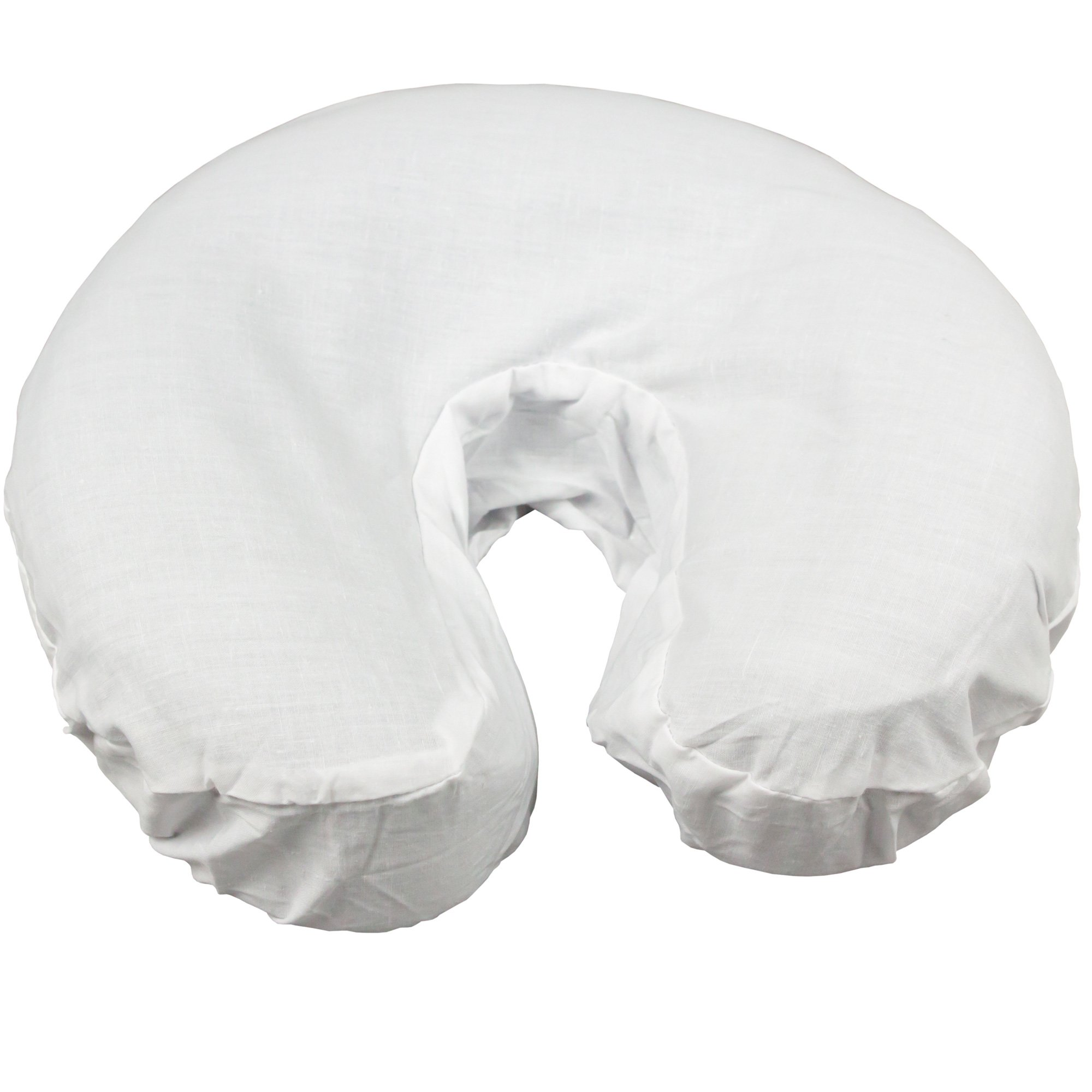 Body Linen Simplicity Poly Cotton Massage Face Cradle Covers (White, 100 Pack) - Clean, Crisp Fabric for Frequent Use and Washing, Colorfast and Latex-Free, Fits All Standard Massage Tables