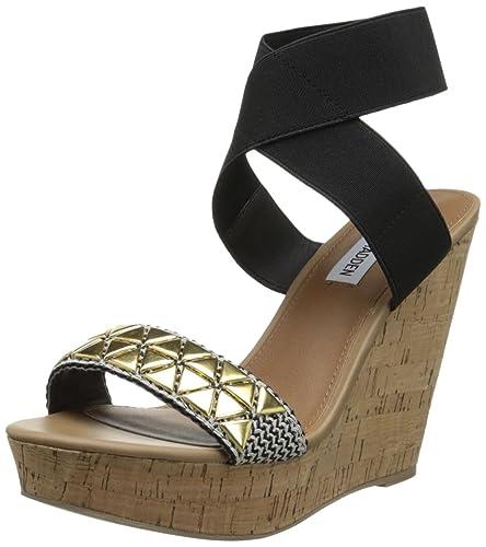 Steve Madden Women's Roperr-G Wedge Sandal,Black/Gold,5.5 ...
