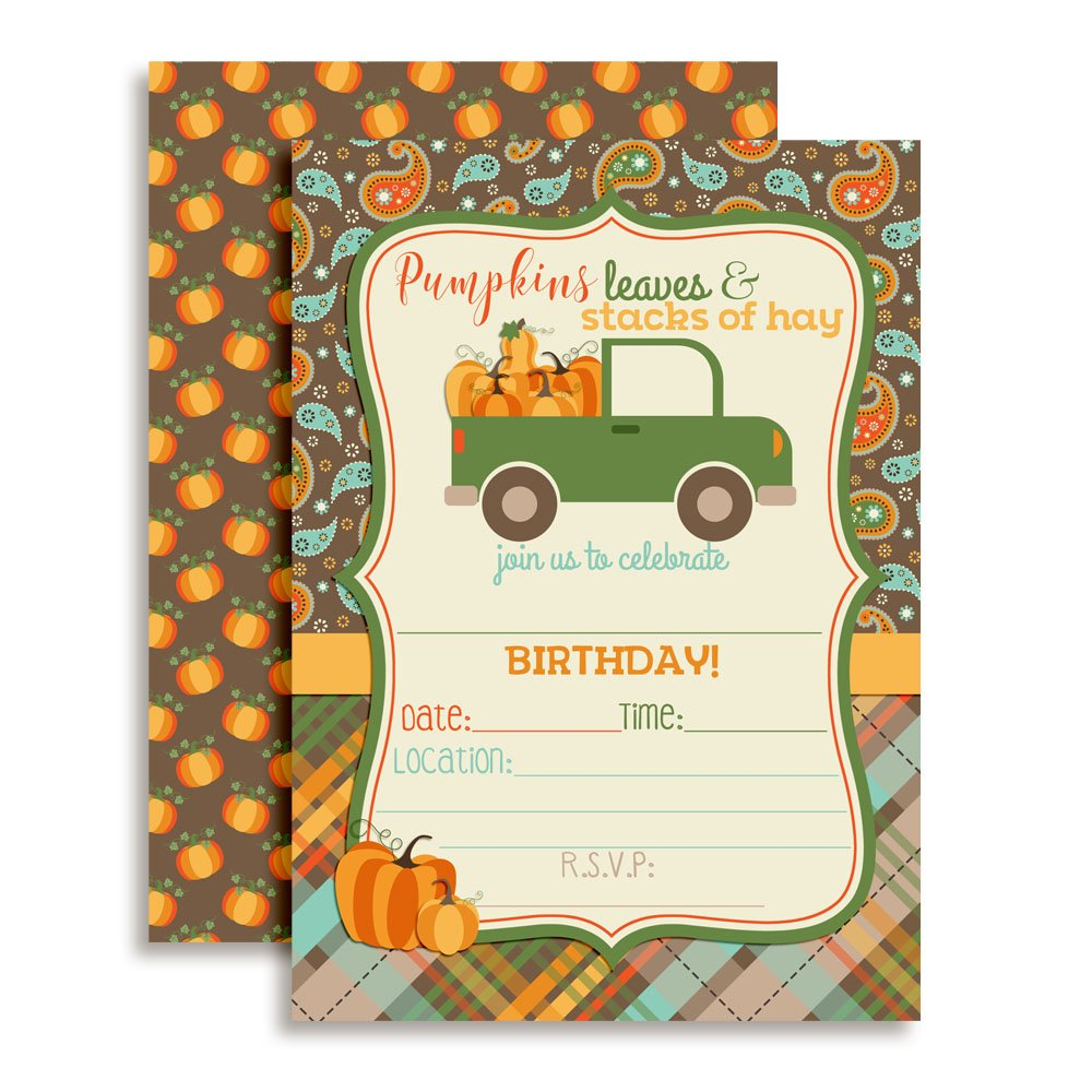 Pick Up Truck Full of Pumpkins Birthday Party Invitations, Ten 5''x7'' Fill in Cards with 10 White Envelopes by AmandaCreation