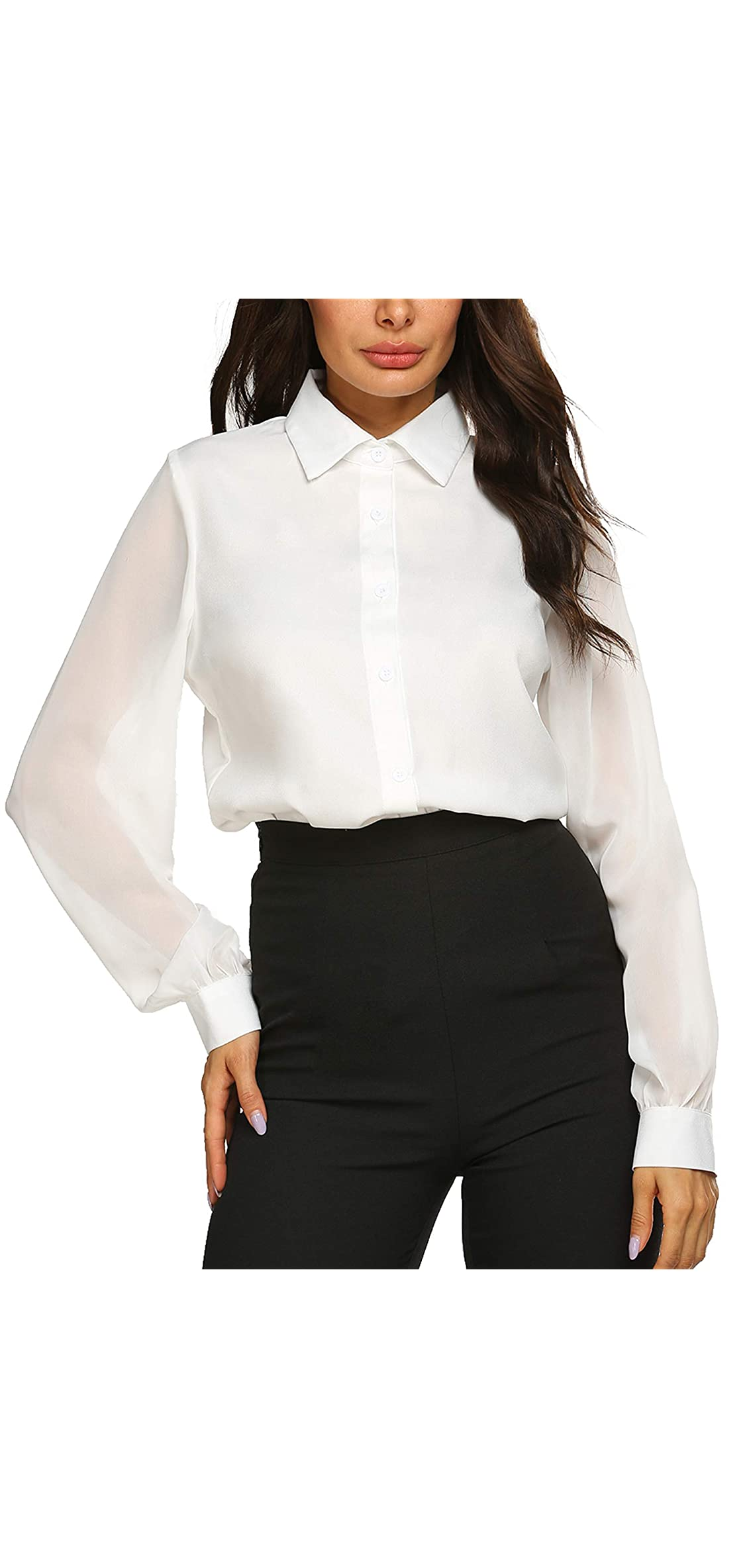Womens Blouses Bow Tie Neck Long Sleeve Office Work Chiffon Down