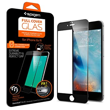 SPIGEN - Protector cristal templado iphone 6/6S, Full Cover Black Protector de pantalla de vidrio templado para móvil Ultra Resistente Apple iPhone 6/6S 4.7 Pulgadas SGP11589