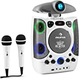 auna Kara Projectura • Children's karaoke • Karaoke player • Karaoke set • Projector • 2 x dynamic microphone • CD+G player • USB port • MP3-compatible • Video output • LED lighting effect • White