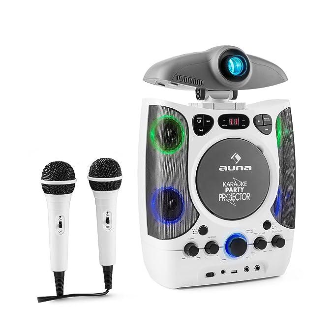 Amazon.es: auna Kara Projectura Equipo de karaoke con proyector de luces LED (2 micrófonos, proyector para visualizar letra, LED sensible a la música) - ...