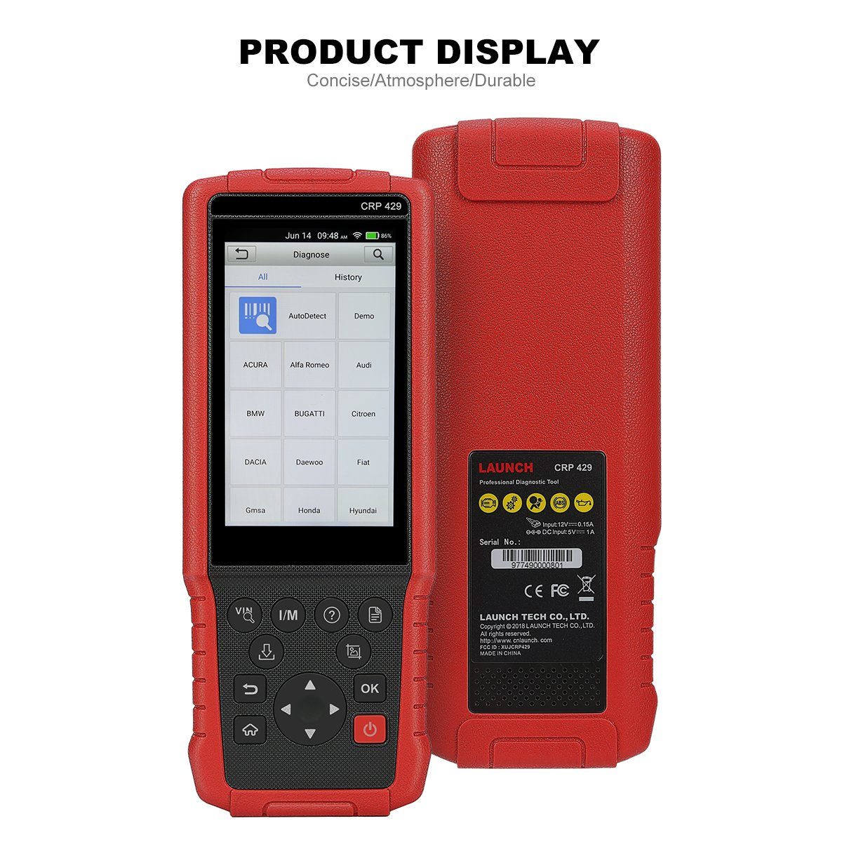 LAUNCH OBD2 Scanner CRP429 Advanced Full System Diagnostic Tool with ABS Bleeding, Injector Coding and IMMO, EPB, BMS, SAS, DPF,Oil Service Light Resets + One Year Free Update by LAUNCH (Image #2)