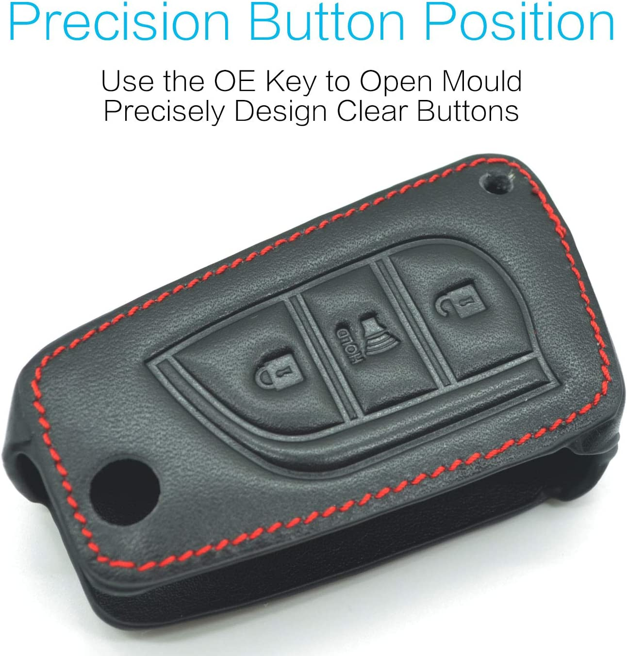 MECHCOS Compatible with fit for 2018 2017 Toyota Corolla iM Flip Fob 3 Buttons Leather Smart Keyless Entry Remote Control Key Fob Cover Pouch Bag Jacket Case Protector Shell