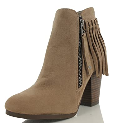 Women's Gail26 Faux Suede Back Fringe Stacked High Heel Ankle Boot Tan 10 M US