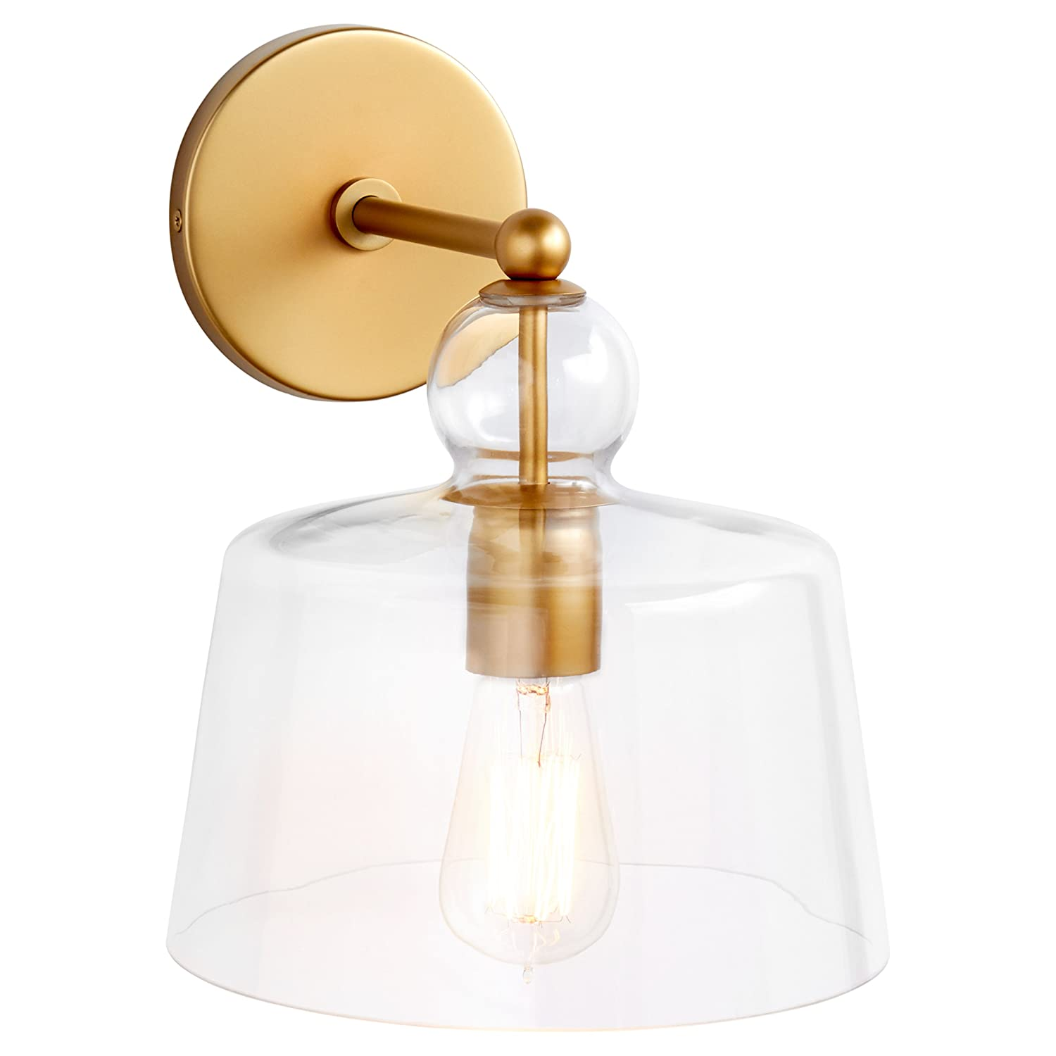 Stone beam modern metal wall mount sconce fixture with light bulb and glass shade 16 x 8 x 10 inches brushed brass