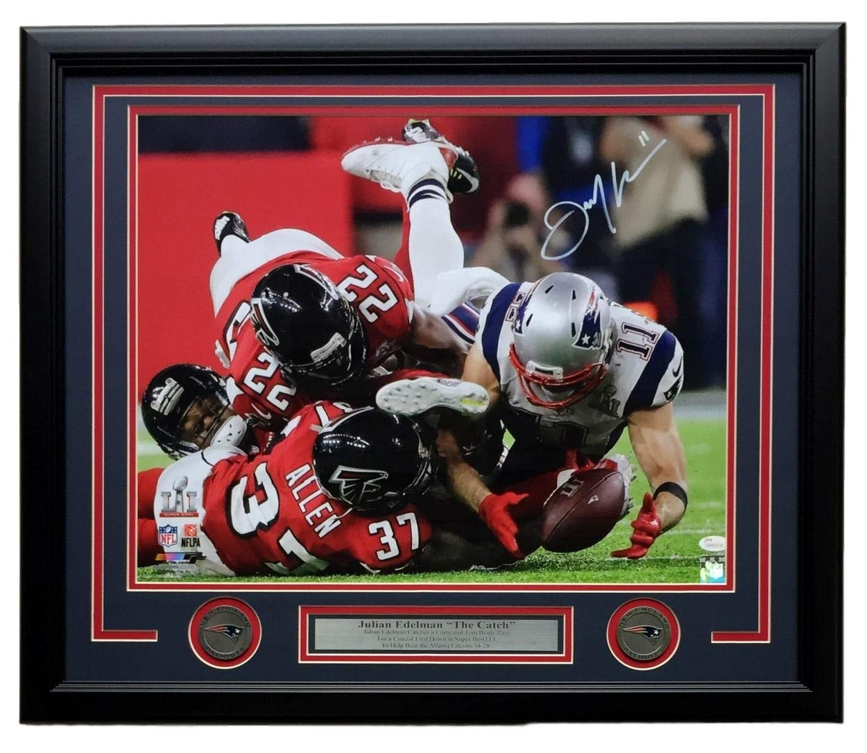 Julian Edelman Signed Framed 16x20 New England Patriots Super Bowl LI Catch JSA