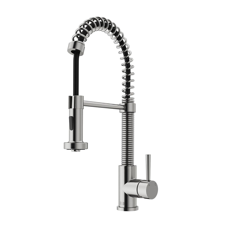 VIGO Edison Single Handle Pull-Down Spray Kitchen Faucet, Stainless ...