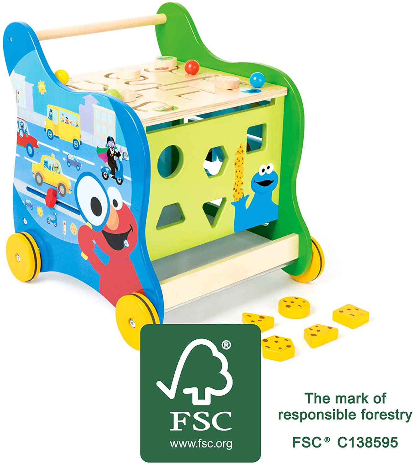 Small Foot 10969 Sesame Street Wooden Walker Multicolour a Walking Assistant for Toddlers Aged 12 Brand 100/% FSC-Certified Many Different Ways to Play a Baby Toy That Trains Motor Skills