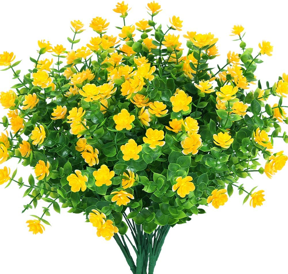 TEMCHY 24 Bundles Outdoor Artificial Fake Flowers No Fade UV Resistant Faux Plastic Plants for Hanging Planter Patio Yard Wedding Indoor Home Kitchen Farmhouse Décor (Yellow)