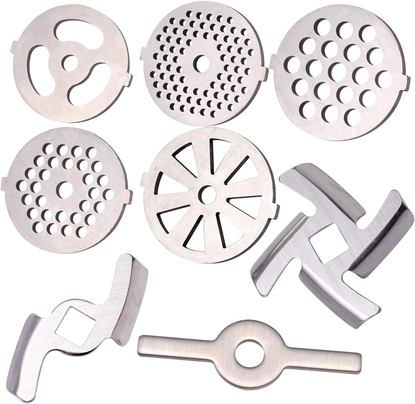 8 Pcs Meat Grinder Attachments, Metal Standard Universal Food Grinder Replacement For Make Sausage and Burgers, Grinding Plates Blades Included