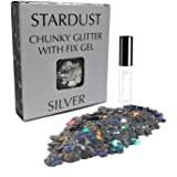 ✮FLASH SALE✮ Silver Mix 10g Chunky Cosmetic Glitter & FREE Fix Gel ✮ Festival Glitter, Use on Face, Body, Hair, Nails ✮ By Stardust