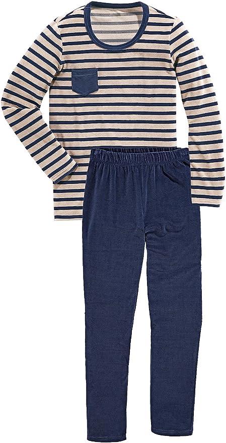 Tchibo TCM Mujer Nicki Pijama algodón orgánico Azul Rayas: Amazon.es: Deportes y aire libre