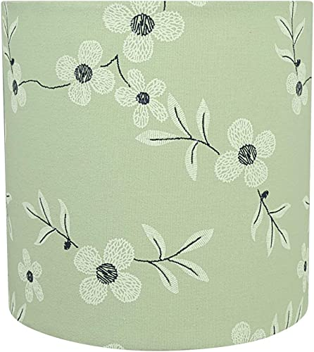 Aspen Creative 31235 Transitional Drum Cylinder Shape Construction Light Green, 8 Wide 8 x 8 x 8 Spider LAMP Shade