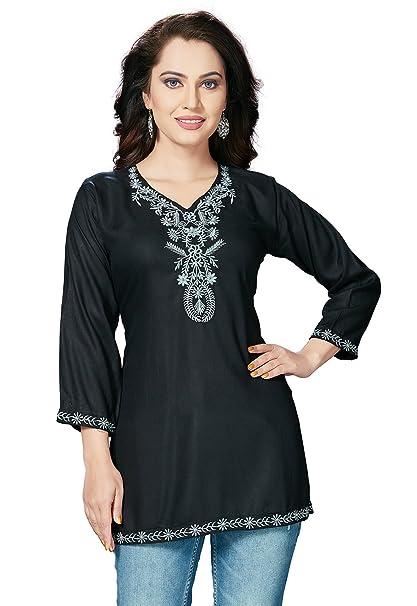 62c86b310e3 ishin Women's Rayon Embroidered Top (Black, XX-Large): Amazon.in ...