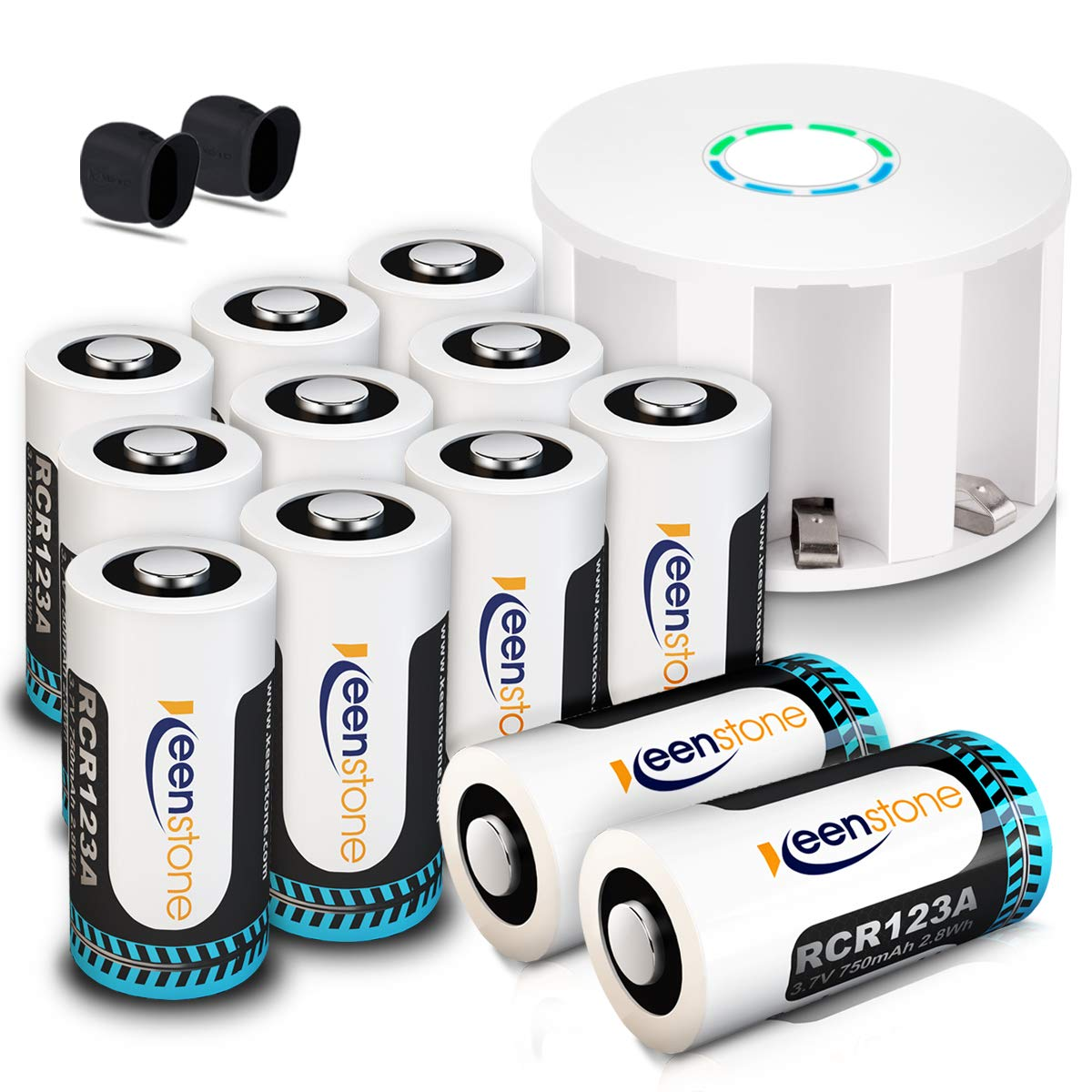 Keenstone RCR123A Rechargeable Batteries and Charger, 12Pcs 3.7v Li-ion 750mAh Rechargeable Camera Batteries for Arlo VMS3030/3230/3330/3430 Cameras