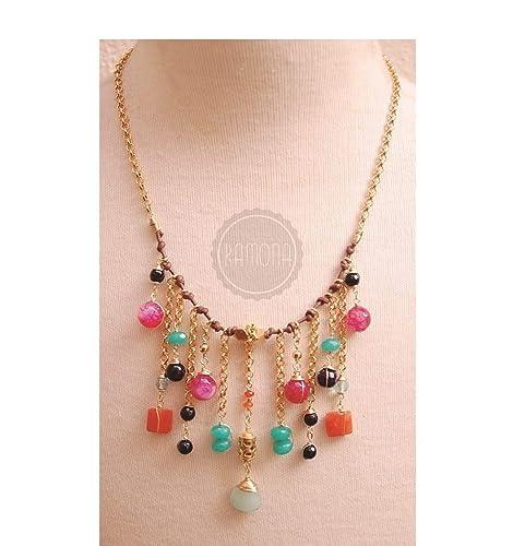84573c9828b collar corto o gargantilla dorado,piel y piedras en colores marrón ...