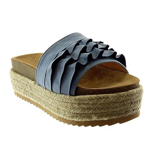 check-out 896df 5eb0c Angkorly - Chaussure Mode Espadrille Mule Slip-on Plateforme Femme à  Volants liège Corde Talon compensé Plateforme 6 CM