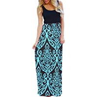 OURS Women's Ethnic Style Sleeveless Floral Print Tank Dress Geometric Party 3/4 Sleeve Long Maxi Dresses