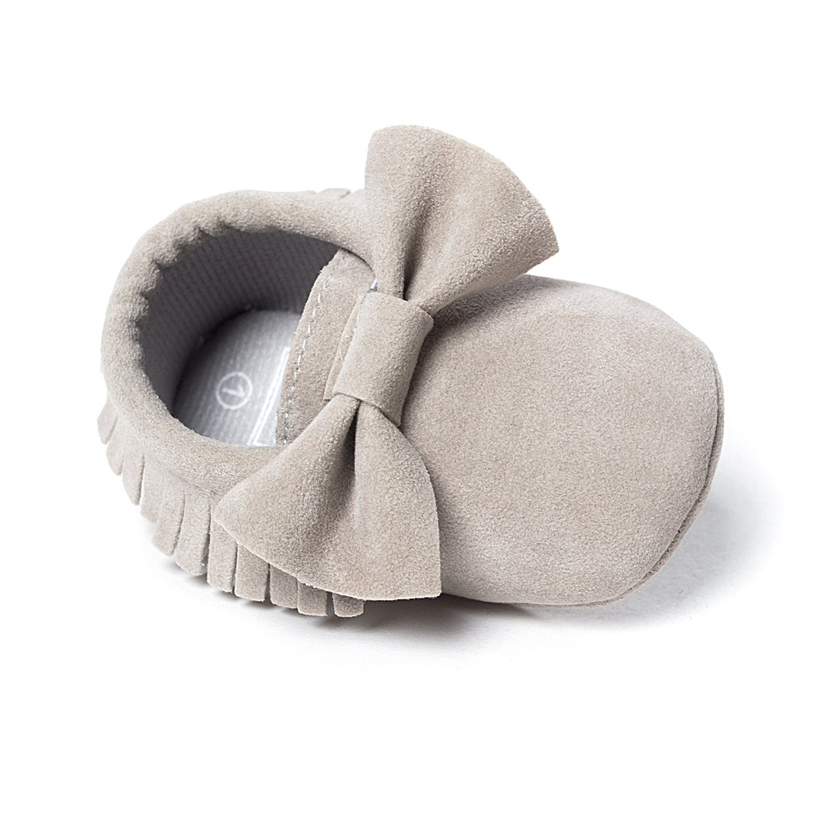 LIVEBOX Infant Baby Girls and Boys Premium Soft Sole Moccasins Tassels Prewalker Anti-Slip Toddler Shoes (S: 0~6 Months, Bow-Light Grey) by LIVEBOX (Image #1)