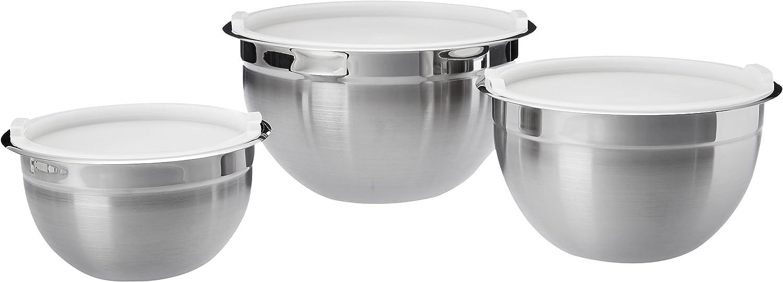 AmazonBasics - Juego de boles para mezclar de acero inoxidable, de 3 piezas