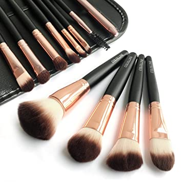 251de81a7082 COLOLLINE Makeup Brushes Set 12pcs Soft Synthetic Hair and Nature Bristles  Professional Makeup Artist...
