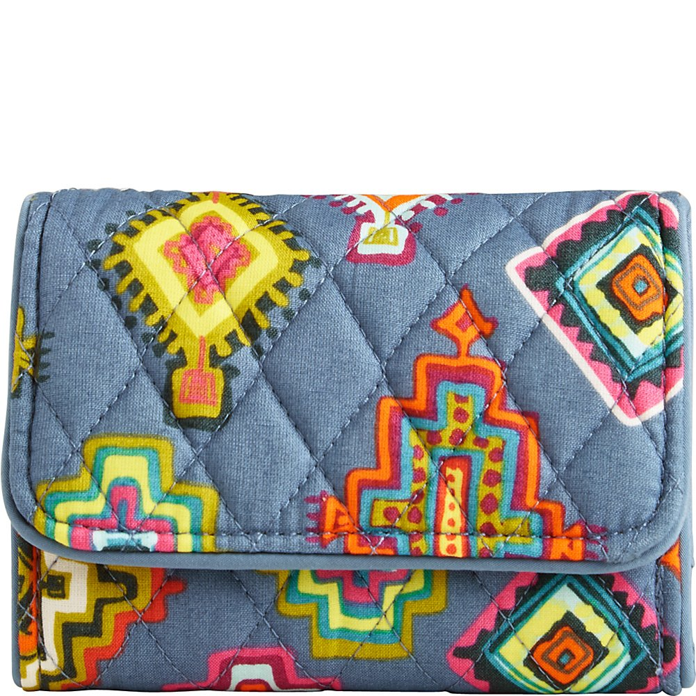 Vera Bradley Women's Rfid Riley Compact Wallet Painted Medallions Wallets
