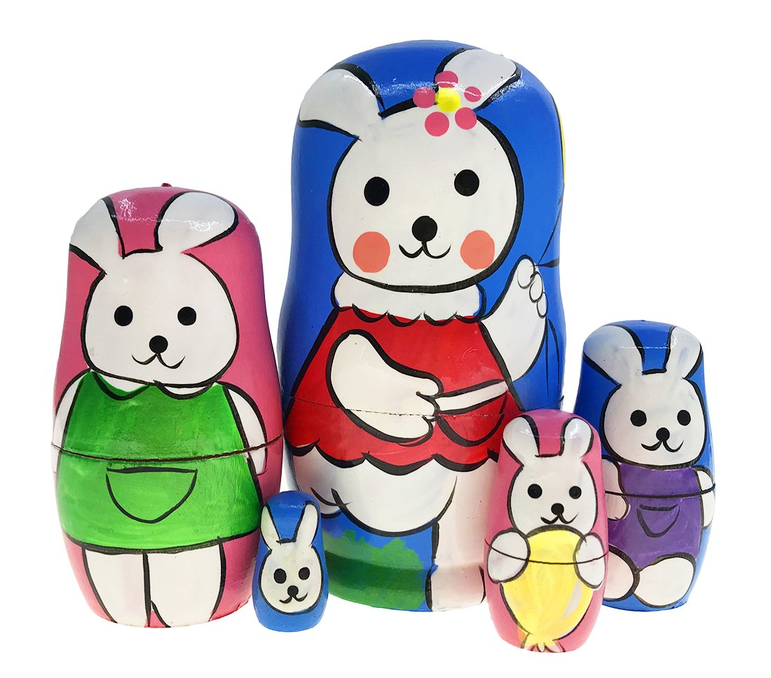 Alrsodl Cute Blue and Pink Rabbit Bunny with Balloon Animal Nesting Doll Wooden Matryoshka Russian Doll Handmade Stacking Toy Set 5 Pieces For Kids Girl Mother's Day Gifts Home Decoration
