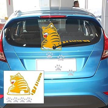 AKORD - Gato amarillo con cola móvil para limpiaparabrisas trasero para coche adhesivo: Amazon.es: Coche y moto