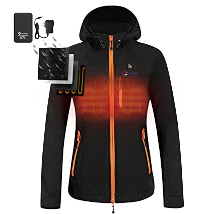 2f72e95b88ff4 OUTCOOL Women's Heated Jacket Kit with Hood Waterproof Windproof Black M  [Type: 17NJK01] - - Amazon.com