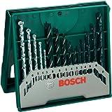 Bosch Mini X-Line - Pack con 15 brocas para metal, piedra y madera, perforación 3- 8 mm, color negro y verde