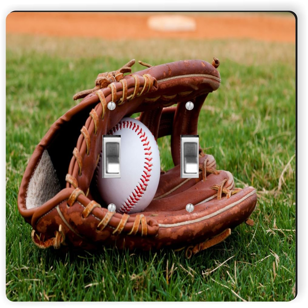 Rikki Knight 1073 Double Toggle Baseball with Glove Design Light Switch Plate