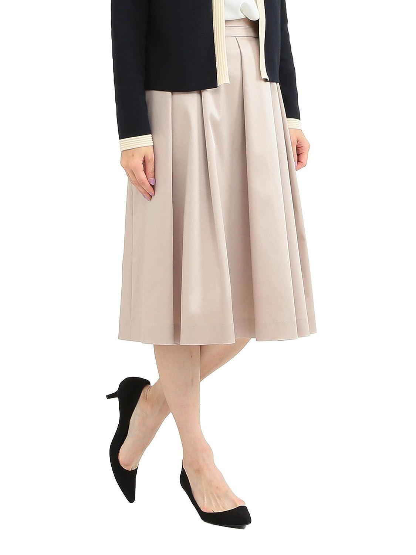 (デミルクスビームス) Demi-Luxe BEAMS スカート タックフレアー サテンスカート レディース ベージュ 38 B0785PJCRG 36|ベージュ ベージュ 36