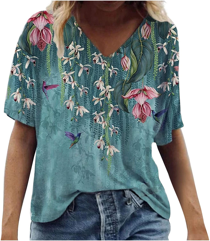 Baishitop SUPPION Women Summer Leisure Loose Lightning Chrysanthemum Pattern Printing Short Sleeve V Neck Summer Tops Blouse