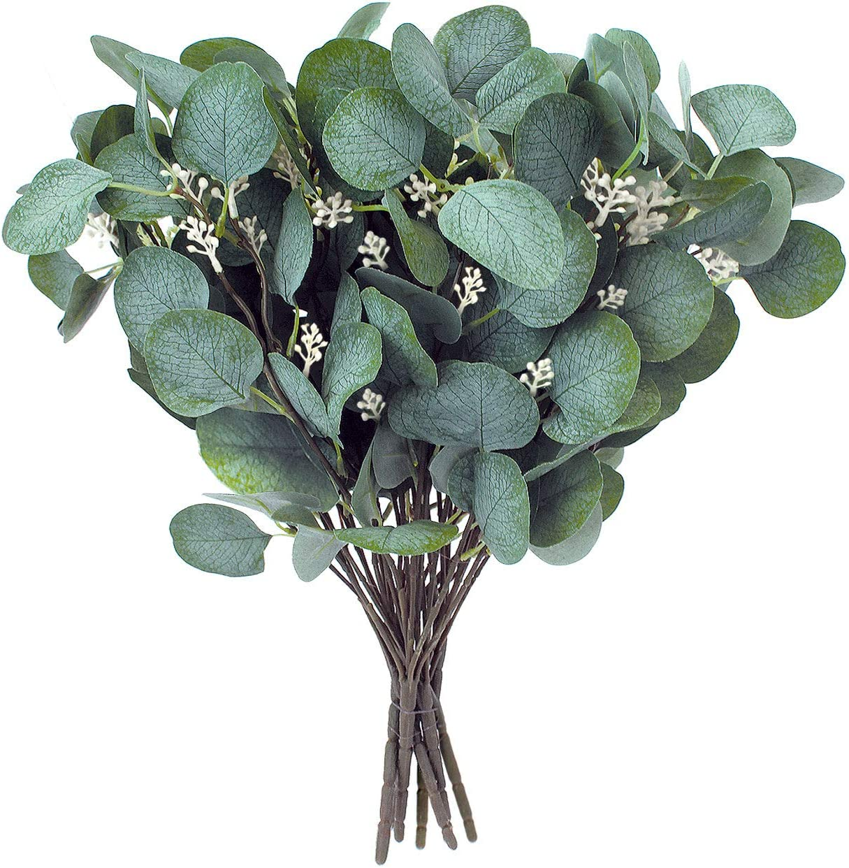 Artificial Greenery Stems – Faux Silk Eucalyptus Leaves White Seeded Green/Grey/Blue Floral 6 Picks / 5 Branches Each Floral Pick for Flower Arrangement Crafts, Holiday Centerpiece, Décor
