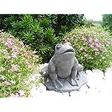 Steinfigur Frosch, Gartenfigur Steinguss Tierfigur Basaltgrau
