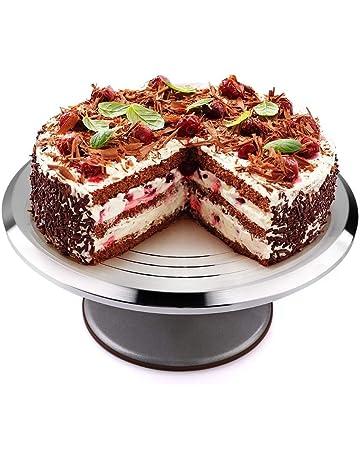 Uten Bandejas para Tartas de Acero Inoxidable Plato Giratorio de la Torta Soporte de Decoración de