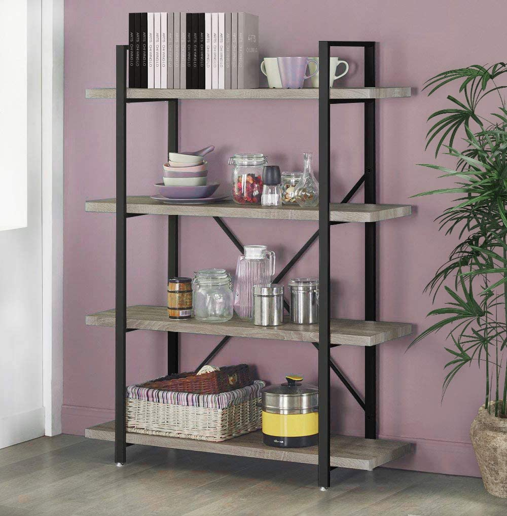 Seeutek Bookshelf 4 Tier Vintage Industrial Bookshelf Display and Storage Bookcase Wood and Metal Book Shelf for Home and Office