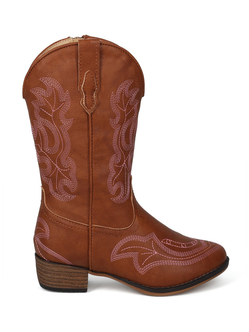 Alrisco Girls Leatherette Embroidered Tall Cowboy Boot HG02 - Tan Leatherette (Size: Little Kid 1) by Alrisco (Image #1)