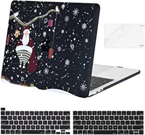 MOSISO Compatible with MacBook Pro 13 inch Case 2016-2020 Release A2338 M1 A2289 A2251 A2159 A1989 A1706 A1708, Plastic Pattern Hard Shell Case & Keyboard Cover & Screen Protector, Black Snow Flake