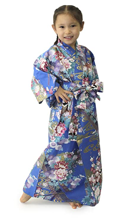 f164cb3f132b2 Buy Kimono Japan Girl's Easy Yukata Robe Noshi and Princess Blue ...